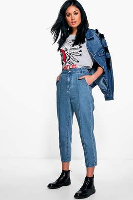 boohoo Sophie Seam Front Mom Jeans
