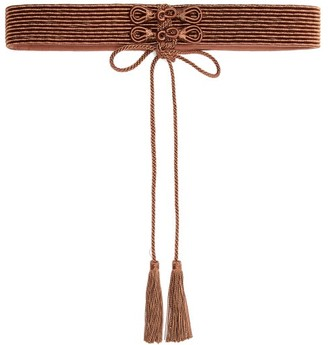 Thierry Colson Braid And Tassel Satin Belt - Womens - Brown