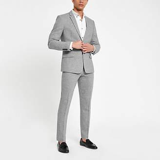River Island Mens Grey herringbone skinny fit suit trousers