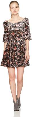 Angie Women's Floral Crushed Velvet Skater Dress 1/2 Bell Sleeves