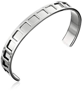 Women's Stainless Steel Cut Out Squared Design Cuff Bangle Bracelet