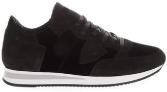 Philippe Model Tropez Gray Suede & Burgundy Velvet Sneakers