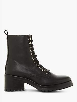 Steve Madden Geneva Block Heel Lace Up Ankle Boots, Black Leather