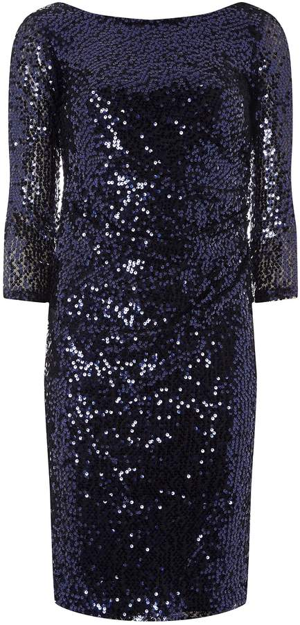 Dorothy Perkins Womens **Billie & Blossom Navy Sequin Embellished Shift Dress