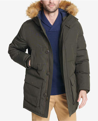 Tommy Hilfiger Men Big & Tall Long Parka with Faux-Fur Hood