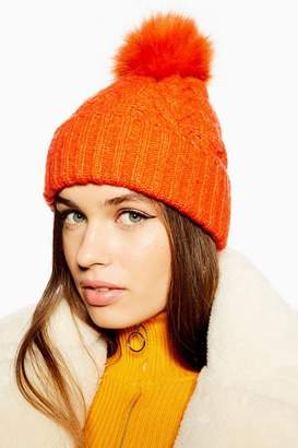 Topshop Cable Knit Beanie with Faux Fur Pom