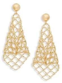14K Gold Beaded Mesh Drop Earrings
