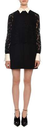 Valentino Long-Sleeve Heavy Lace Crepe Dress w/ Contrast Collar & Cuffs