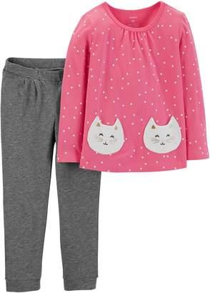 Carter's Toddler Girl Cat Polka-Dot Top & Pants Set