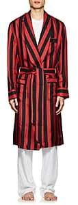 Barneys New York Men's Striped Silk Robe - Black