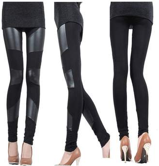 11106d32713f4 Cibeat Sexy Women Stitch Stretchy Faux Leather Slim Leggings Skinny Jegging  Pant Colors Three Stripes