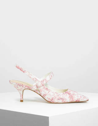 Charles & Keith Square Toe Mary Jane Slingback Heels