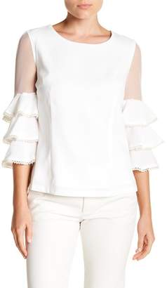 Gracia Tiered Mesh Sleeve Blouse