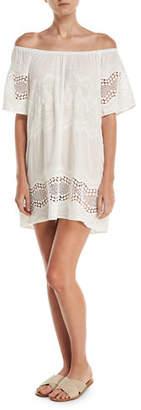 LaBlanca La Blanca Designer Jeans Tie-Dye Lace-Trim Off-the-Shoulder Mini Dress