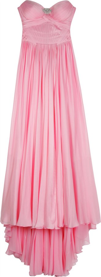 Jenny Packham Pleat Detail Silk Gown