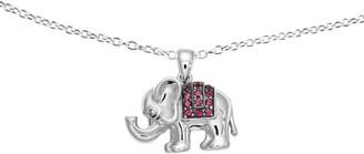 "Sterling Rhodolite Garnet Elephant Pendant with 18"" Chain"