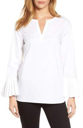 Chaus Pleat Sleeve Shirttail Blouse