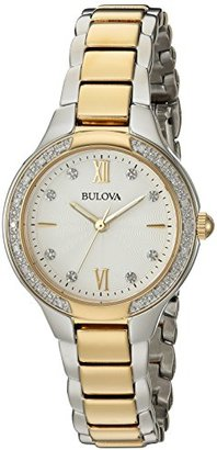 Bulova Women's Quartz Stainless Steel Casual Watch, Color:Two Tone (Model: 98R221) $399 thestylecure.com