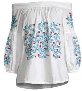 Roller Rabbit Off-The-Shoulder Embroidery Peasant Top