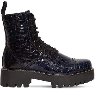 ALEXACHUNG 30mm Military Croc Embossed Leather Boot
