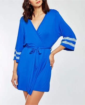 iCollection Comfy Modal Knit Ultra Soft Day and Night Robe with Contrast Lace