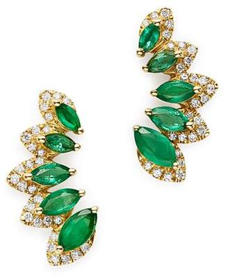 Bloomingdale's Emerald & Diamond Climber Earrings in 14K Yellow Gold - 100% Exclusive