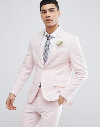 Moss Bros Wedding Skinny Suit Jacket In Light Pink Linen