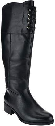 Isaac Mizrahi Live! Medium Calf Leather Riding Boots w/ Lace Detail