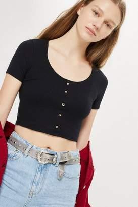 Topshop Short Sleeve Horn Button Crop T-Shirt