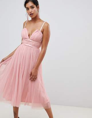Asos DESIGN Tulle Midi Dress With Ribbon Waist