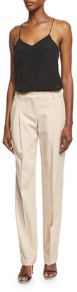 Michael Kors Mid-Rise Pleated-Front Pants, Nude $875 thestylecure.com