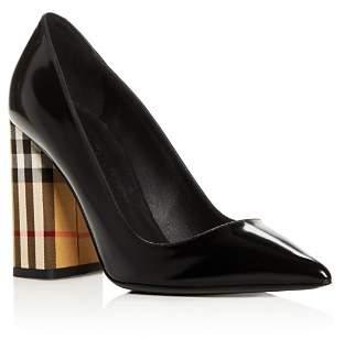 Burberry Women's Dashwood Pointed Toe High Block-Heel Pumps