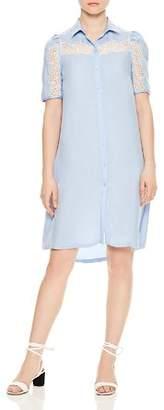 Sandro Slade Lace-Inset Button-Down Shirt Dress