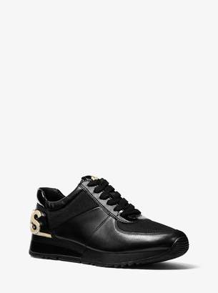 MICHAEL Michael Kors Allie Embellished Leather and Canvas Trainer