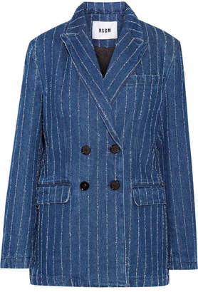 MSGM Distressed Pinstriped Denim Blazer - Navy