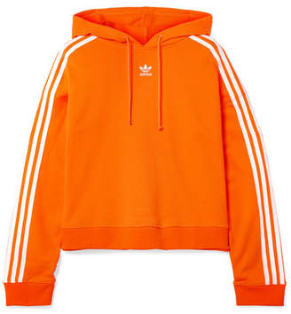 adidas Cropped Striped Cotton-terry Hoodie - Orange