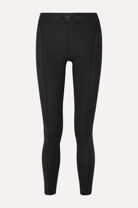 Nike Pro Warm Hollywood Glittered Mesh-paneled Stretch Leggings - Black
