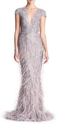 Marchesa Cap-Sleeve Lace Metallic Gown