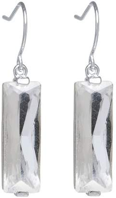 clear Distributed by Target Silver Plated Brass Rectangular Crystal Drop Earrings