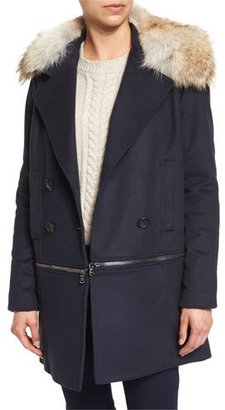 Veronica Beard Antares Convertible Double-Breasted Coat, Navy $1,595 thestylecure.com