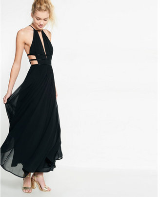 Express strappy cut-out plunge maxi dress $98 thestylecure.com