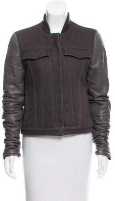 Alexander Wang Leather Sleeve Denim Jacket