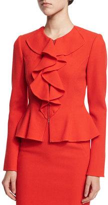 Oscar de la Renta Long-Sleeve Ruffle-Front Jacket, Vermillion $2,590 thestylecure.com