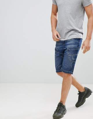 Crosshatch Dark Wash Paneled Denim Shorts