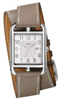 Hermes Watches Cape Cod GM Stainless Steel& Leather Strap Watch