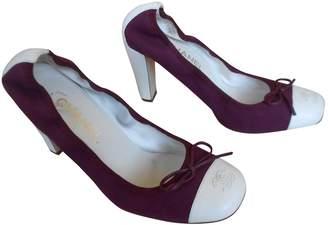 Chanel Burgundy Cloth Heels