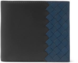 Bottega Veneta Two-Tone Intrecciato Leather Billfold Wallet $480 thestylecure.com