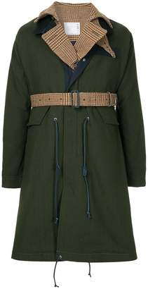 Sacai contrast layer raincoat