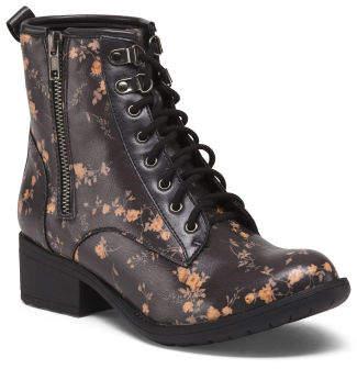 Floral Lace Up Combat Boots