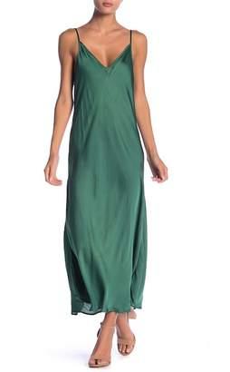 Velvet by Graham & Spencer Brienne V-Neck Satin Tea Length Dress
